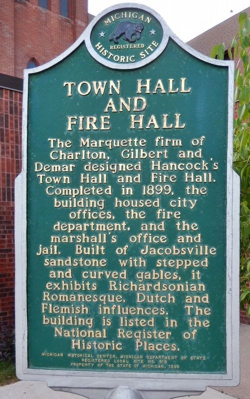 Town Hall and Fire Hall (<i>marker side 2</i>) image. Click for full size.