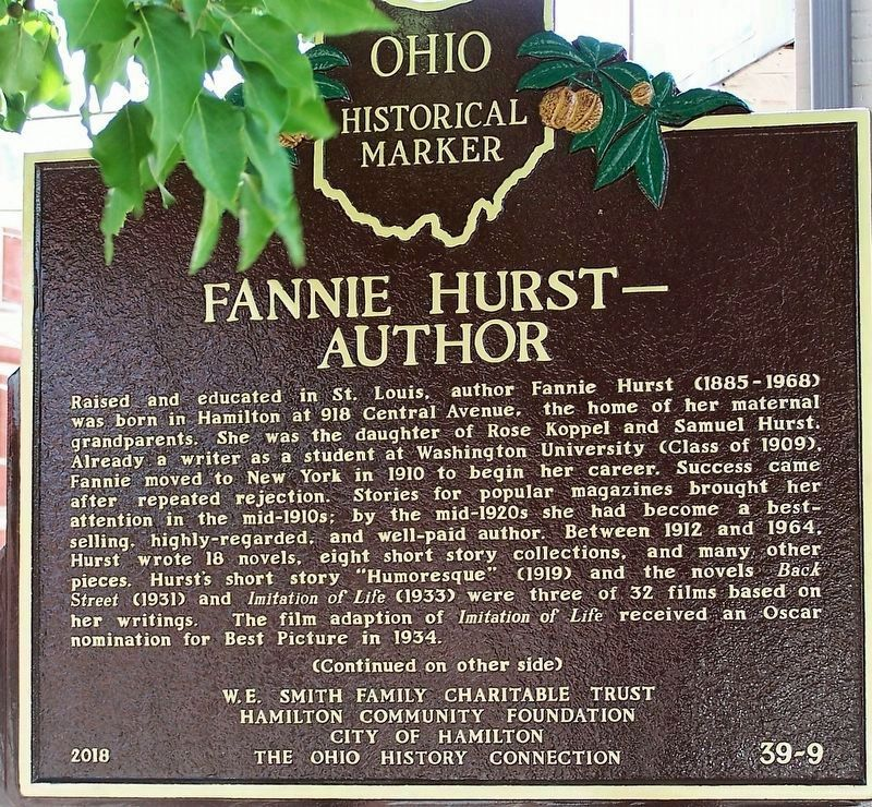 Fannie Hurst - Author side image. Click for full size.