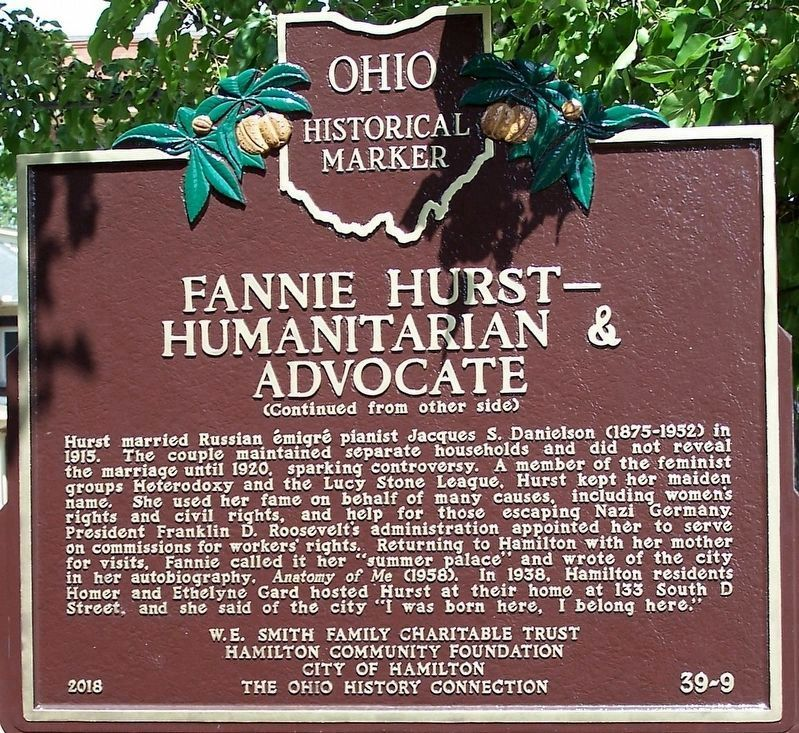Fannie Hurst - Humanitarian and Advocate side image. Click for full size.