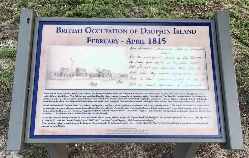 British Occupation of Dauphin Island Marker image. Click for full size.