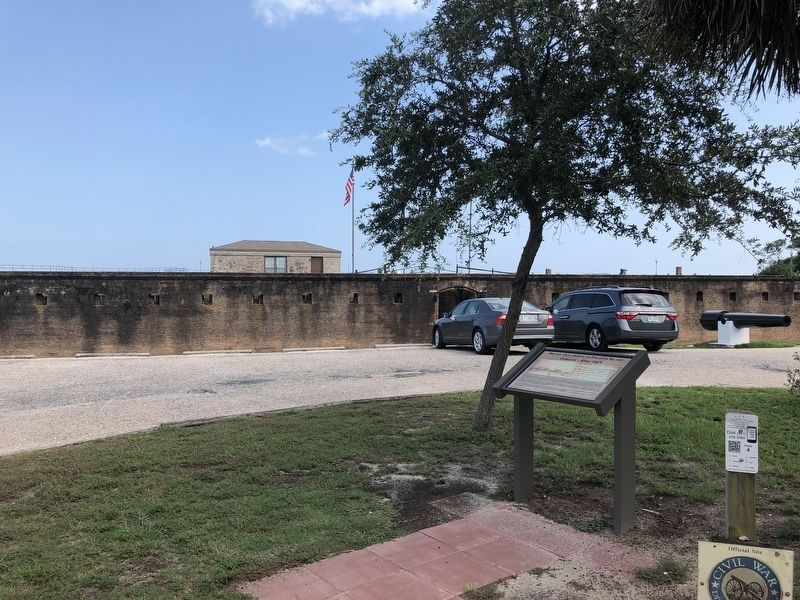 View of marker with Fort Gaines in background. image. Click for full size.