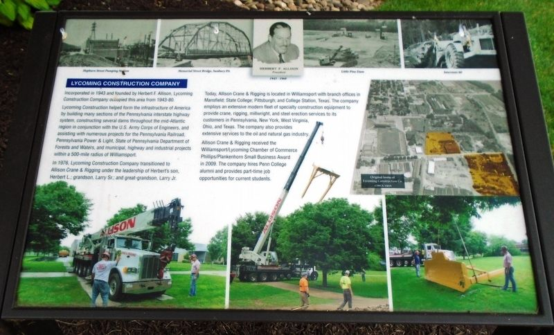Lycoming Construction Company Marker image. Click for full size.