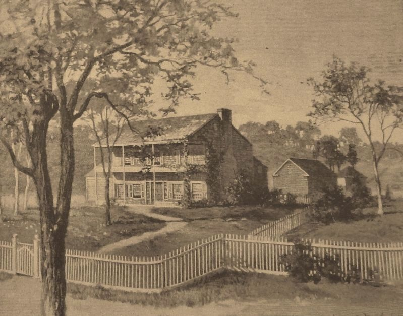 Marker detail: 1840s watercolor depicts main house as it appeared at time of Grant's first visit image. Click for full size.