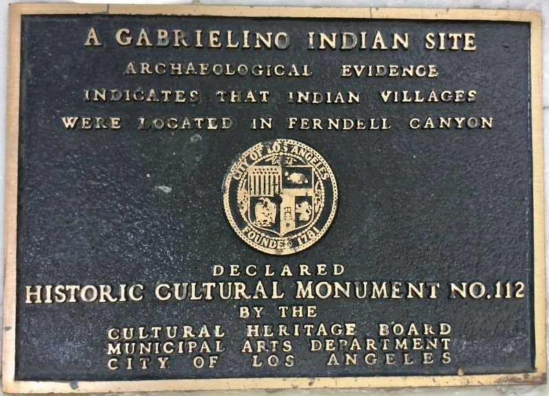 A Gabrielino Indian Site Marker image. Click for full size.