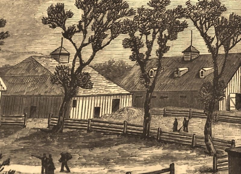 Marker detail: Frank Leslie's illustration of the barn and stable on President Grant's farm image. Click for full size.