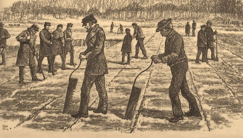 Marker detail: Men cut large blocks of ice needed for 19th century ice houses image. Click for full size.