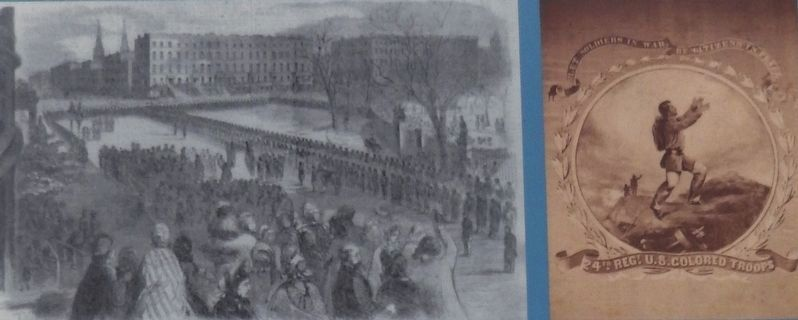 Marker detail: The 20th United States Colored Troops receiving their colors on Union Square image. Click for full size.