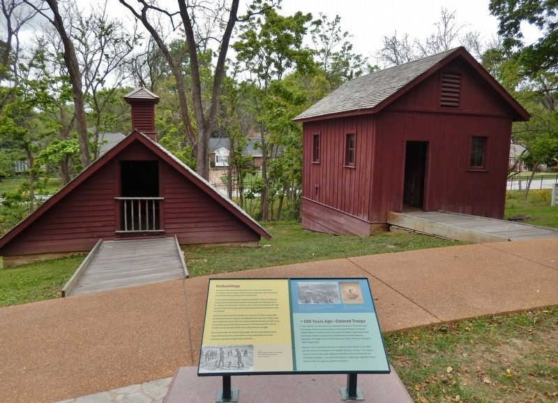 Outbuildings / Colored Troops Marker (<i>wide view; ice house left; chicken house right</i>) image. Click for full size.