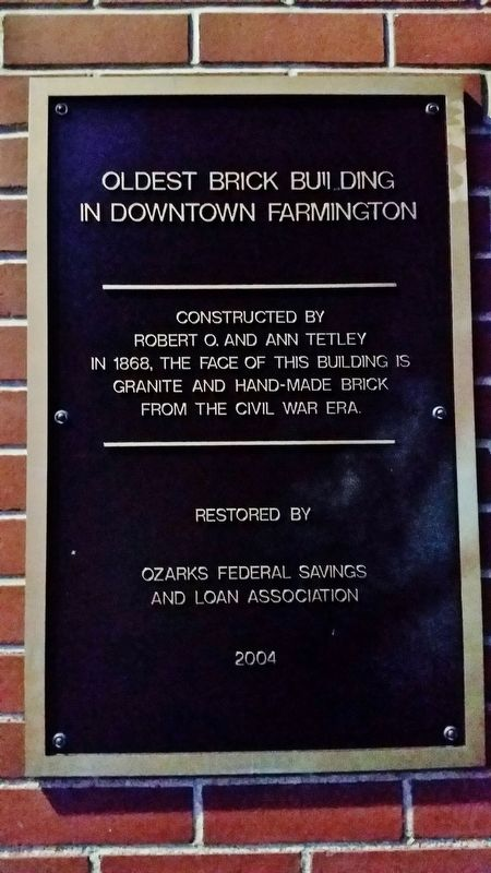 Oldest Brick Building in Downtown Farmington Marker image. Click for full size.