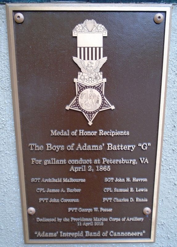 "The Boys of Adams' Battery ""G"" Marker image. Click for full size."
