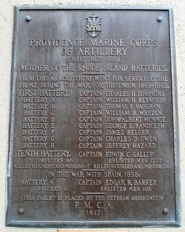 Providence Marine Corps of Artillery Marker image. Click for full size.