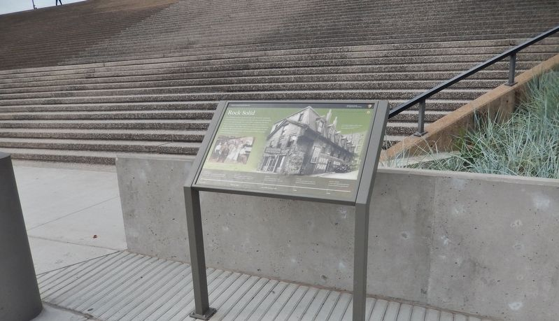 Rock Solid Marker (<i>wide view; marker at base of staircase leading to Gateway Arch</i>) image. Click for full size.