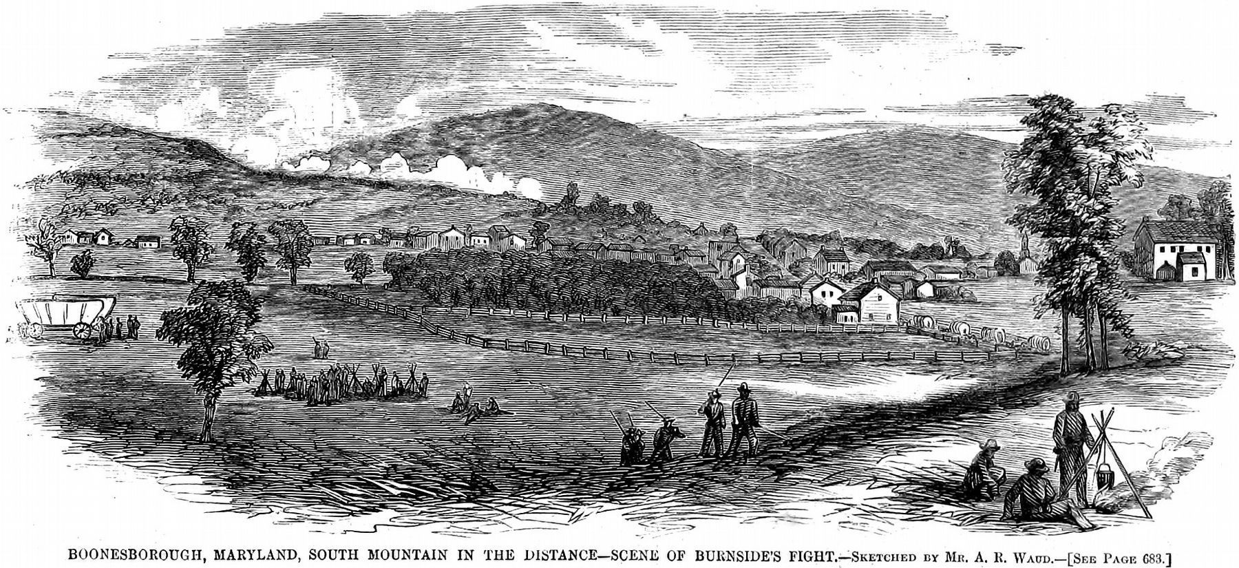 Boonesborough, Maryland,<br>South Mountain in the Distance <br> Scene of Burnside&#39;s Fight image. Click for full size.
