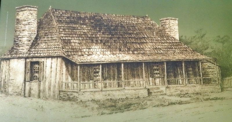 Marker detail: French-style log home image. Click for full size.