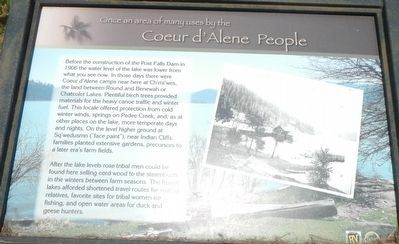 Once an area of many uses by the Coeur d'Alene People Marker image. Click for full size.
