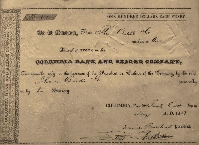 Marker detail: Columbia Bank and Bridge Company Stock Certificate image. Click for full size.