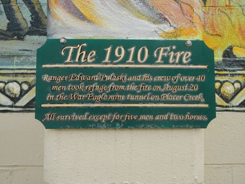 The 1910 Fire Marker image. Click for full size.