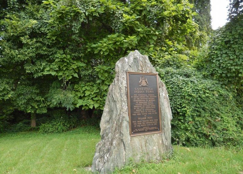 Conestoga Indian Town Marker (<i>wide view; showing large boulder upon which marker is mounted</i>) image. Click for full size.
