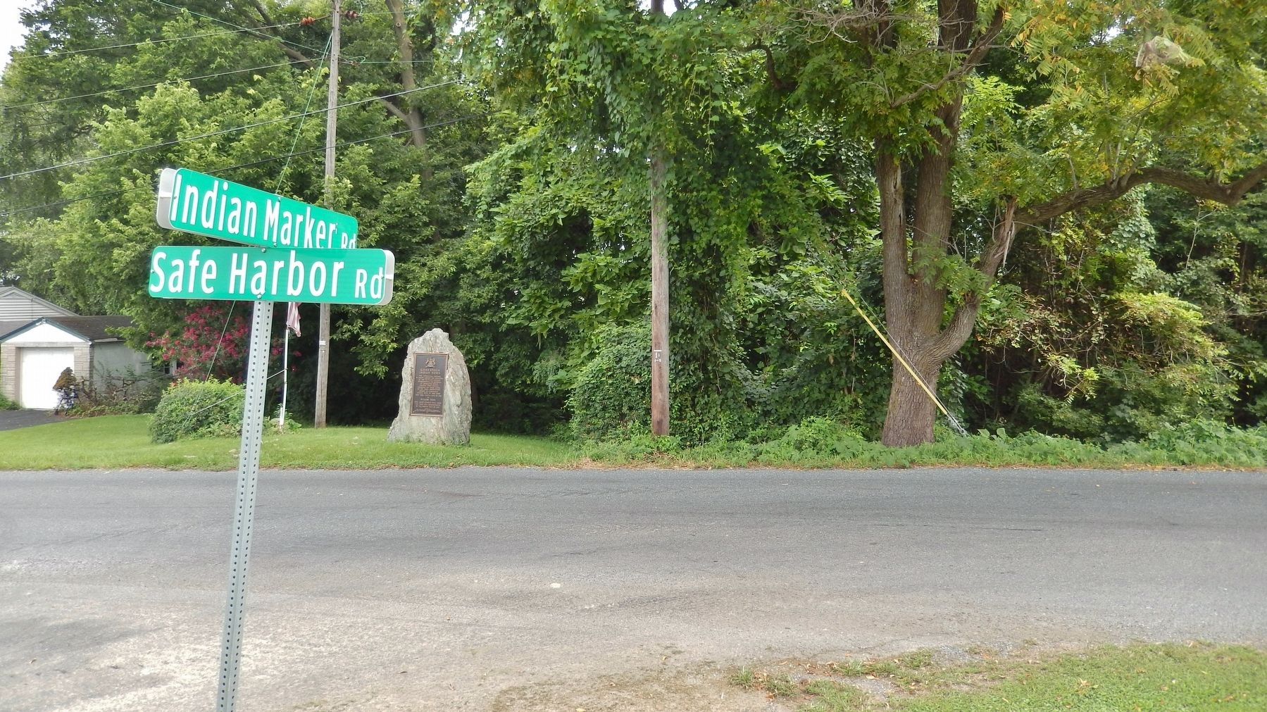 Conestoga Indian Town Marker (<i>wide view from west side of Safe Harbor Road</i>) image. Click for full size.