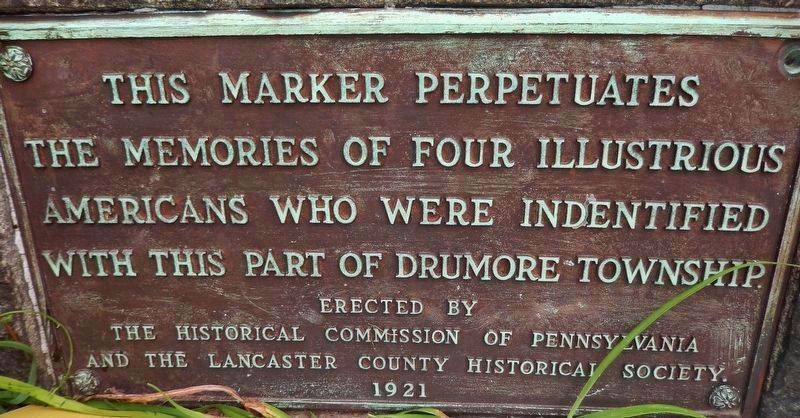 Drumore Township Illustrious Americans Marker<br>(<i>Marker Legend - located at base of marker</i>) image. Click for full size.