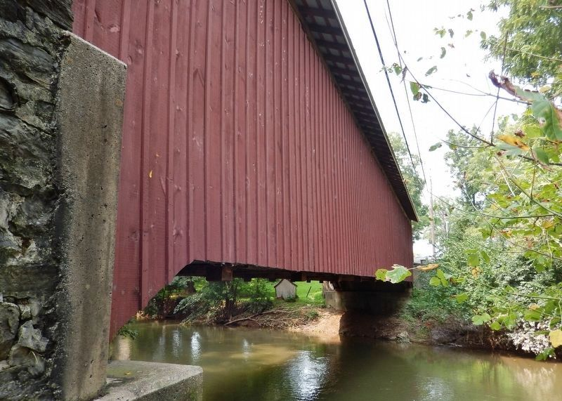 Leaman Place Bridge (<i>side view; Pequea Creek below</i>) image. Click for full size.