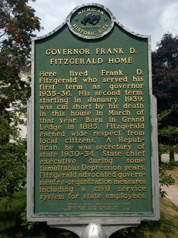 Governor Frank D. Fitzgerald Home Marker image. Click for full size.