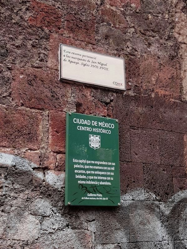 The Marquis of San Miguel de Aguayo Marker and an additional sign image. Click for full size.