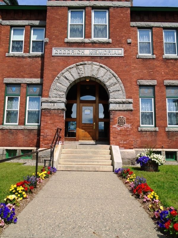 Goodrich Memorial Library Entrance image. Click for full size.