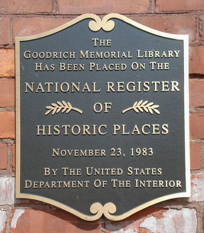 Goodrich Memorial Library NRHP Marker image. Click for full size.