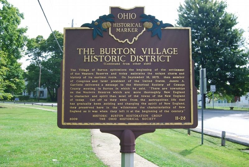 The Burton Village Historic District Marker image. Click for full size.