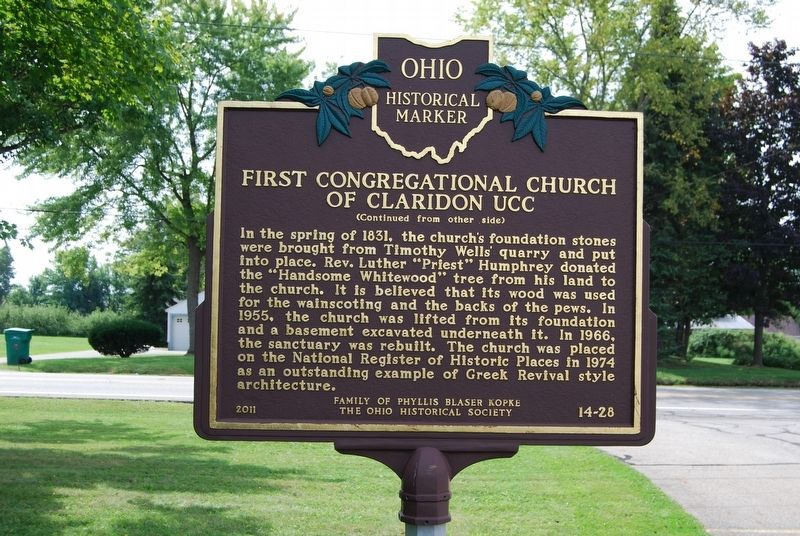 First Congregational Church of Claridon UCC Marker image. Click for full size.