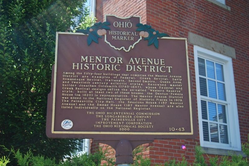Mentor Avenue Historic District Marker image. Click for full size.