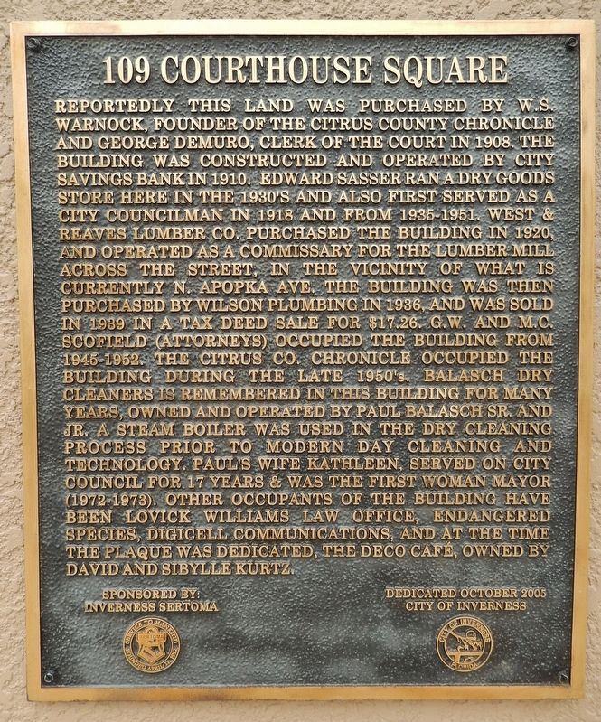 109 Courthouse Square Marker image. Click for full size.
