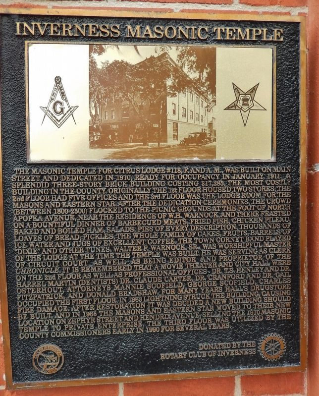 Inverness Masonic Temple Marker image. Click for full size.