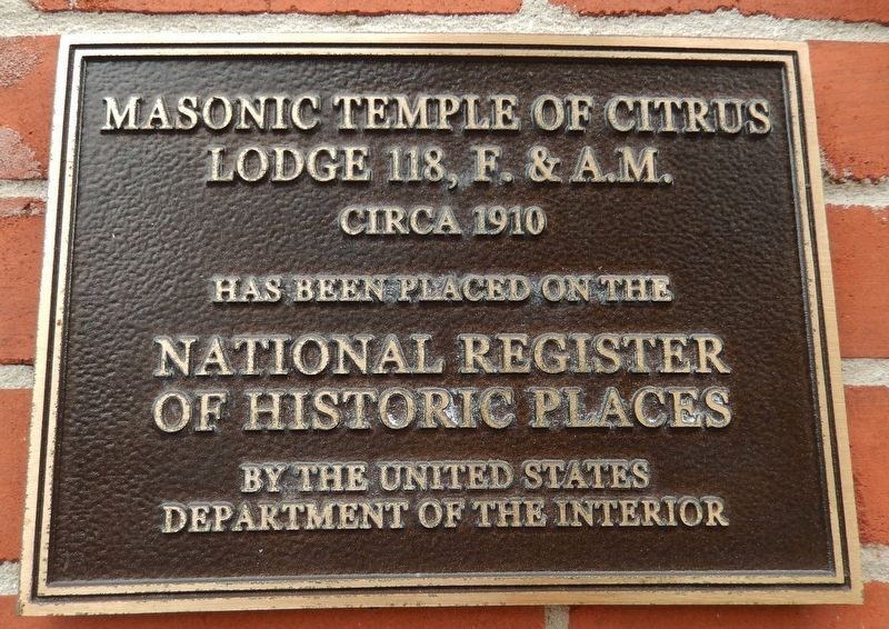 Inverness Masonic Temple National Register of Historic Places Plaque (<i>mounted above marker</i>) image. Click for full size.