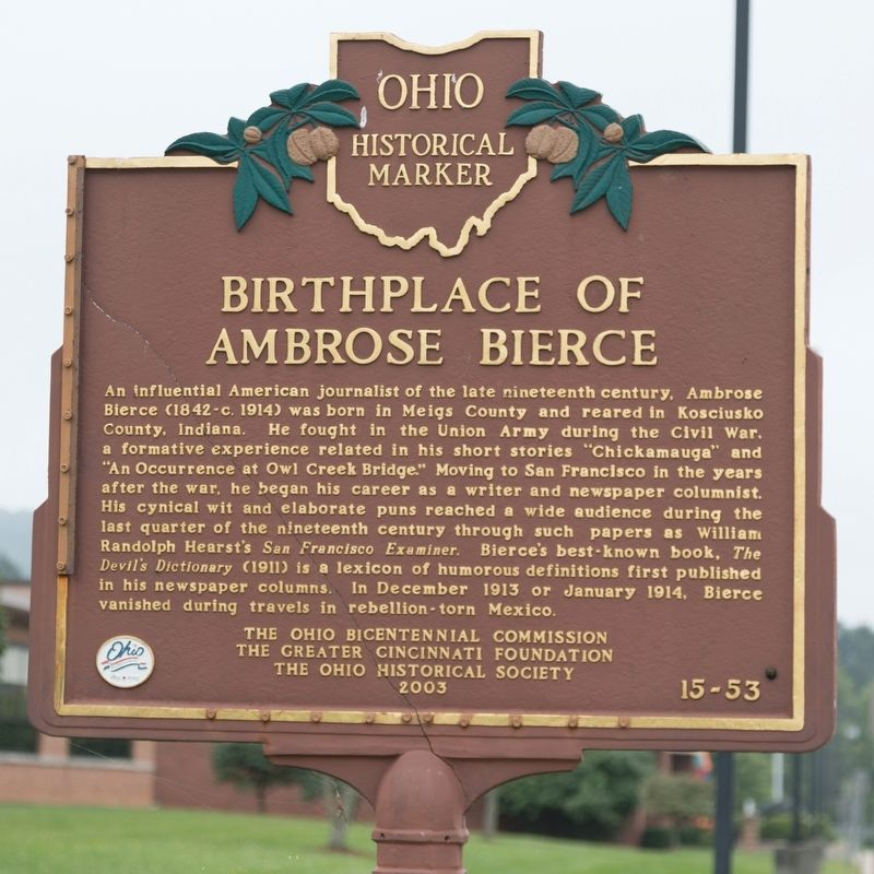 Birthplace of Ambrose Bierce Marker image. Click for full size.