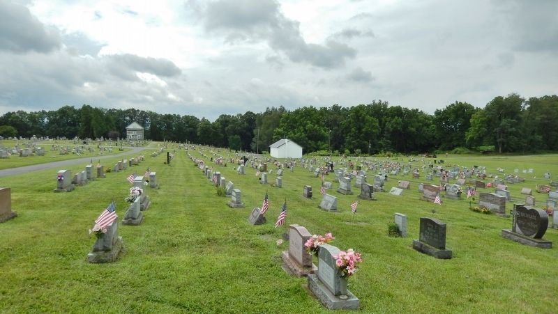 Old Log Church Cemetery (<i>view from Lincoln Highway; Old Log Chuch in background at left</i>) image. Click for full size.