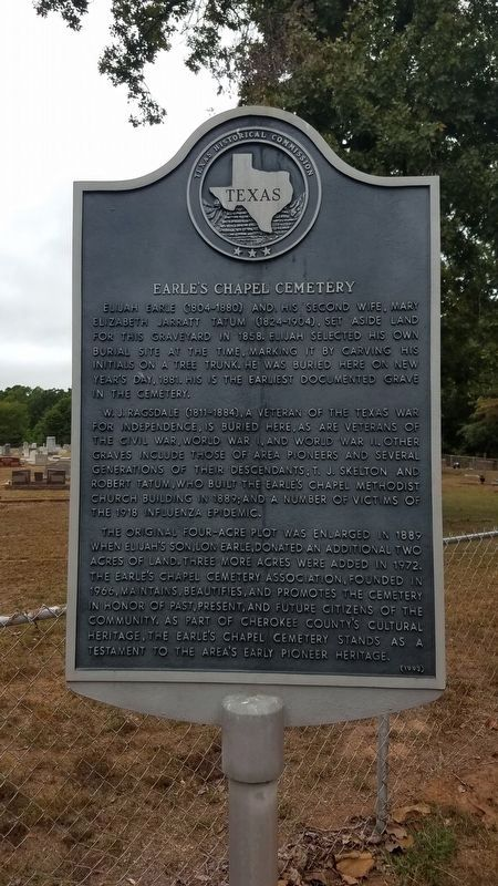 Earle's Chapel Cemetery Marker image. Click for full size.