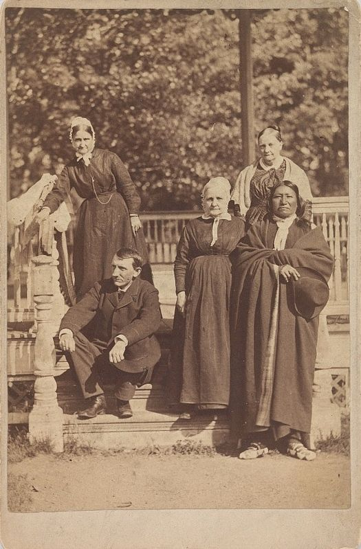 Richard Henry Pratt, Spotted Tail, and three Quaker women at the Carlisle Indian School image. Click for full size.
