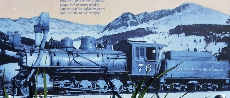 Marker detail: Colorado and Southern steam locomotive #76 image. Click for full size.