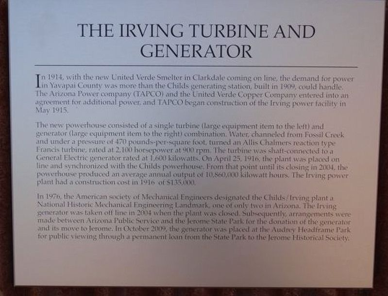 The Irving Turbine and Generator Marker image. Click for full size.