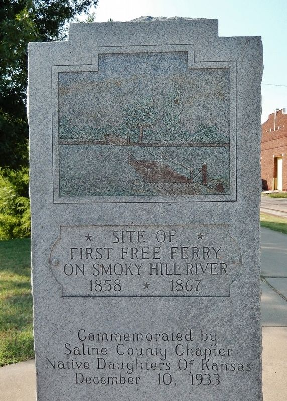 Site of First Free Ferry on Smoky Hill River Marker image. Click for full size.