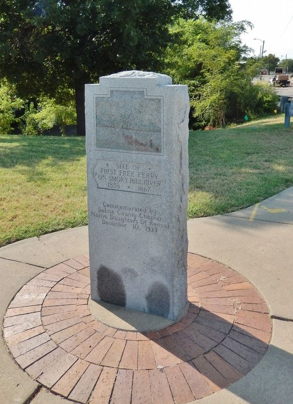 Site of First Free Ferry on Smoky Hill River Marker (<i>tall view</i>) image. Click for full size.