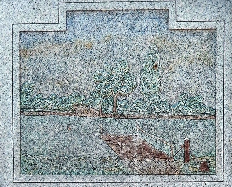 Marker detail: Ferry - artwork inscribed on granite image. Click for full size.