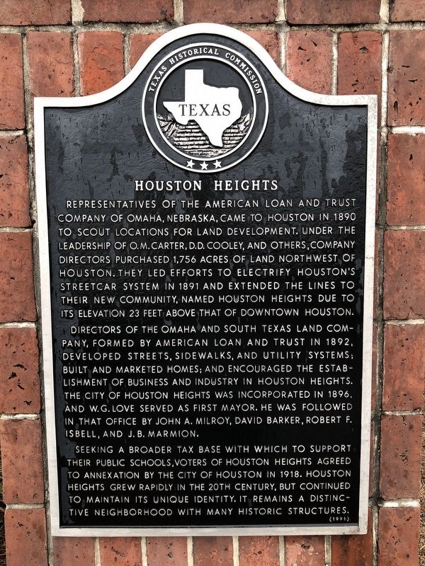 Houston Heights Marker image. Click for full size.