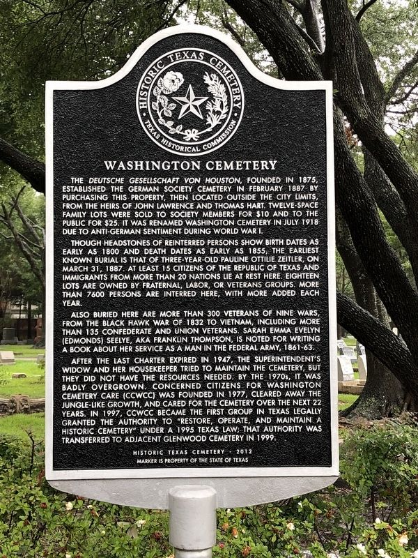 Washington Cemetery Marker image. Click for full size.