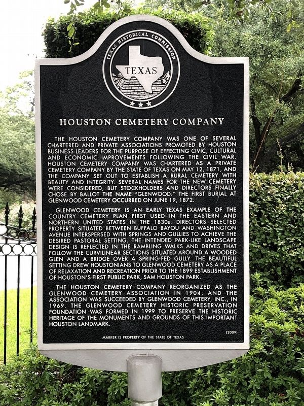 Houston Cemetery Company Marker image. Click for full size.