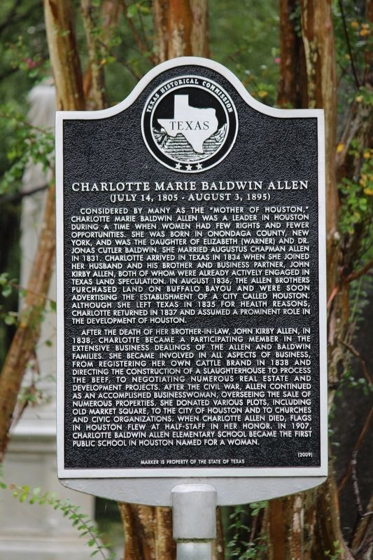 Charlotte Marie Baldwin Allen Marker image. Click for full size.
