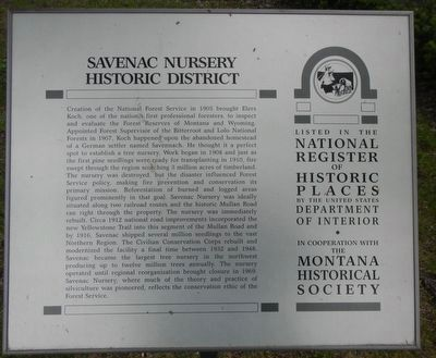 Savenac Nursery Historic District Marker image. Click for full size.