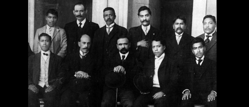 Aquiles Serdán (seated second from left) and Madero in Puebla image. Click for full size.